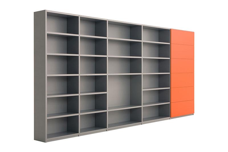 Design boekenkast Container in grijs met open vakken en oranje kleppen