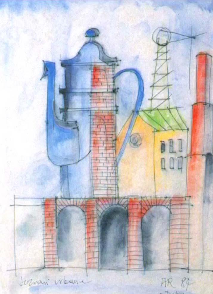 Schets Aldo Rossi met La Cupola duidelijk in beeld