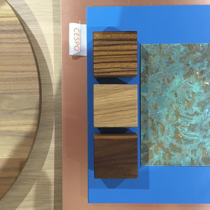 materialen hout en koper